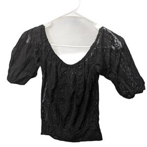 Poof! Size S black lace shirt